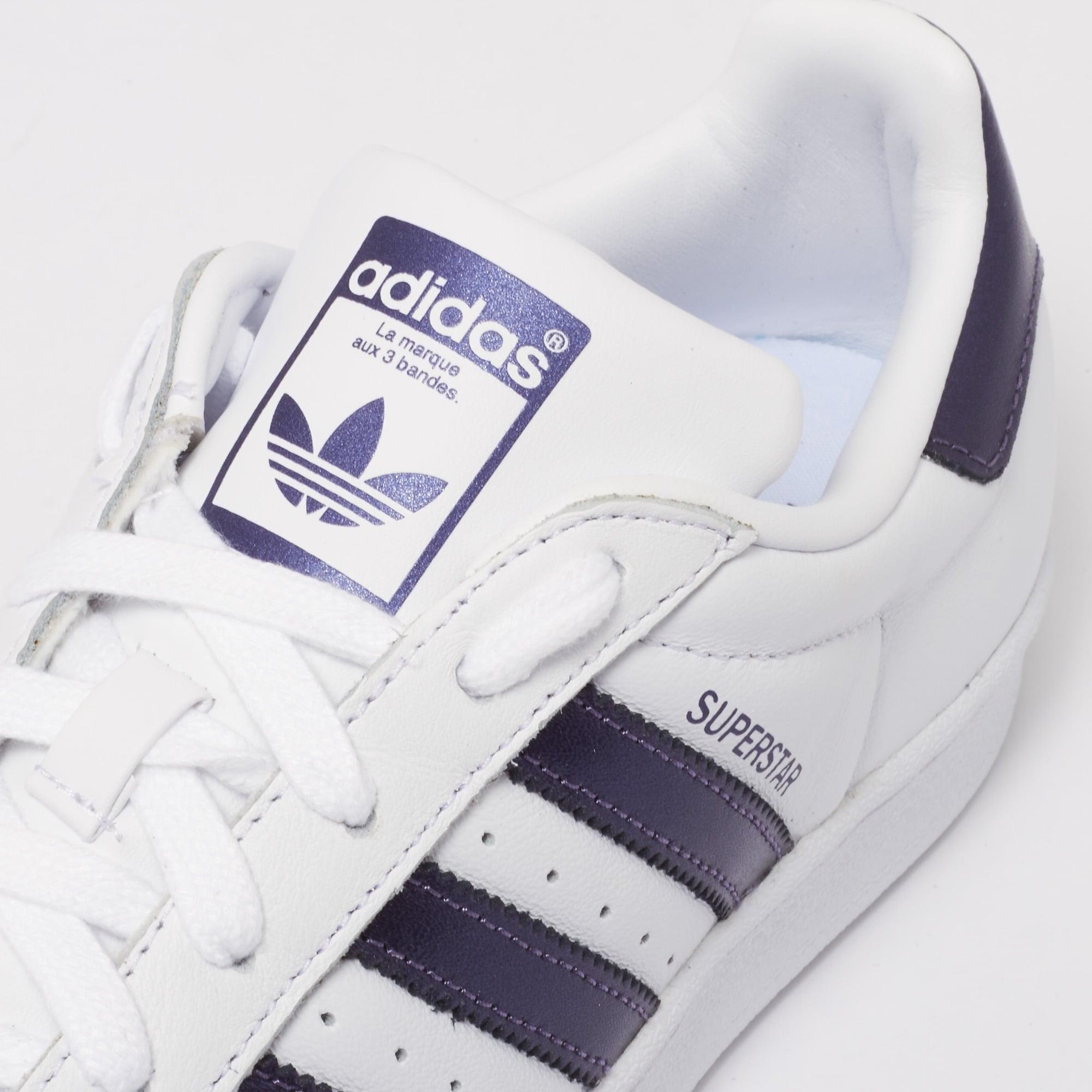 adidas Originals Womens Womens Superstar Trainers FTWR White & Purple Knight Metallic