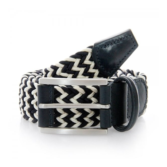 Anderson's Belts Anderson Belts Woven White Navy Belt 00667-B8N