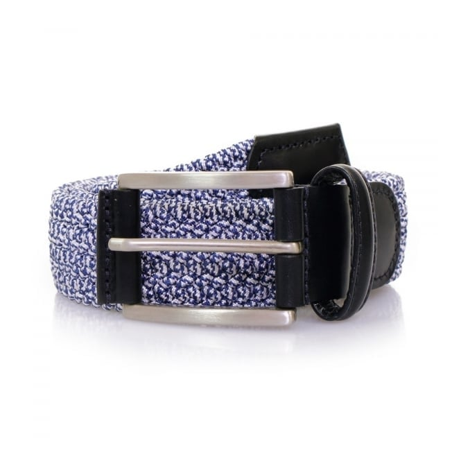 Anderson's Belts Anderson's Blue Leather Trimmed Elasticated Woven Belt AF2949