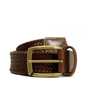 Andersons Thin Braided Dark Brown Leather Belt A2734