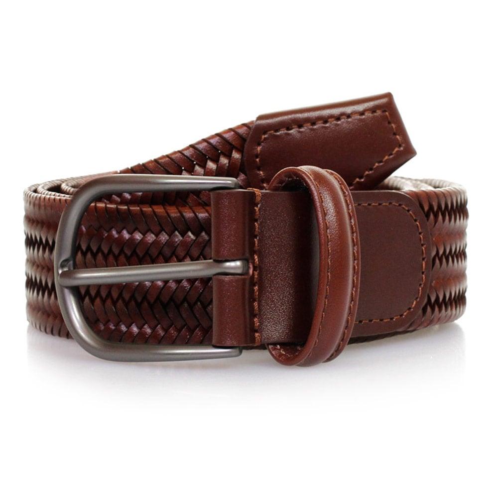 s uk woven medium brown braided leather belt