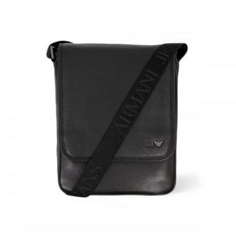 Armani Jeans Borsello Black Leather Travel Bag 06295-C12