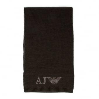 Armani Jeans Brown Wool Blend Scarf Z6402