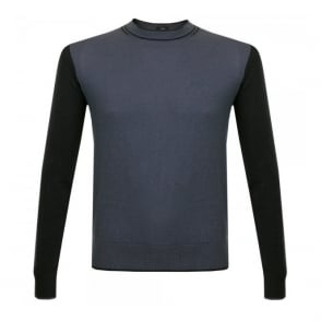 Armani Jeans Crew Neck Wool Blue Jumper B6W29