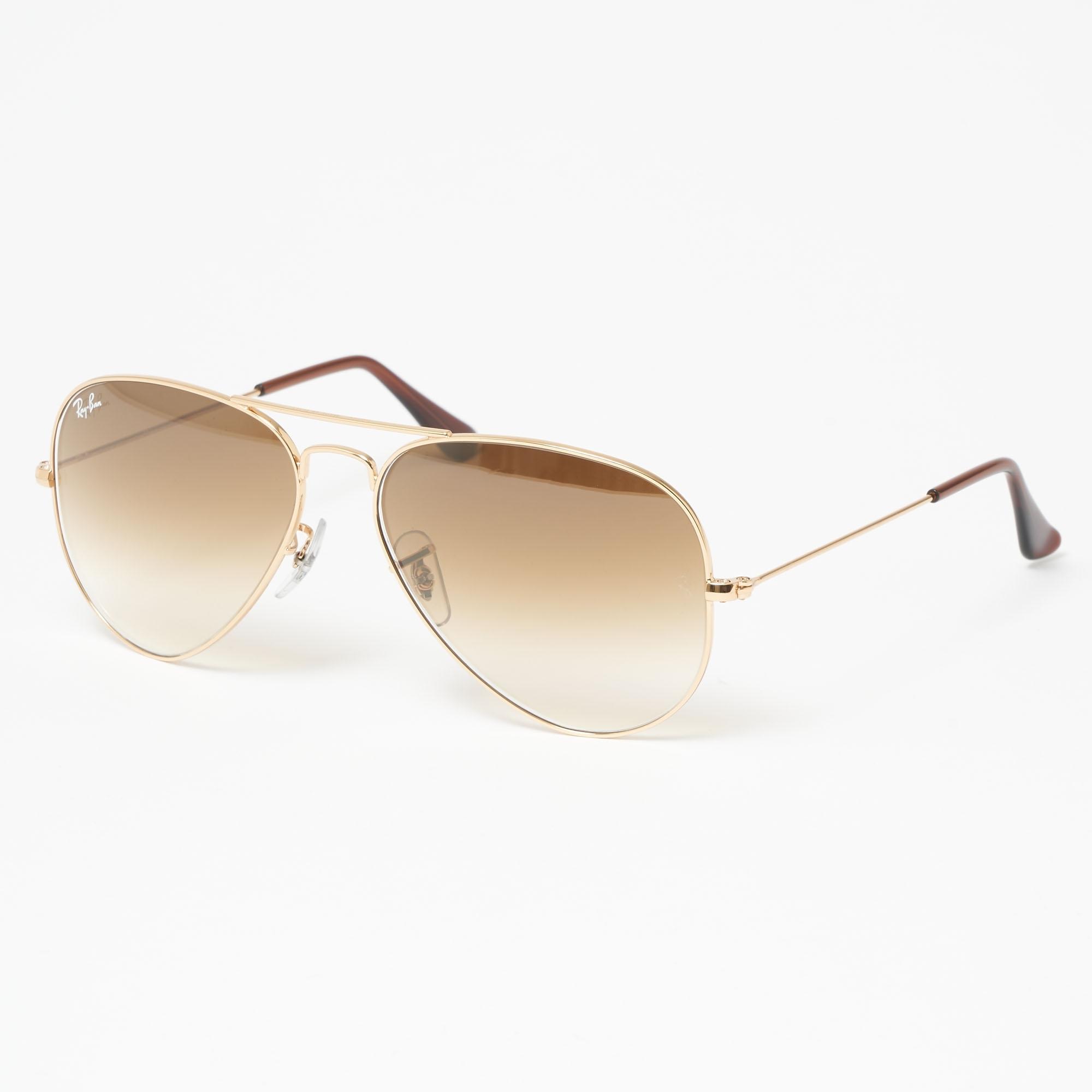 b57eda56c7 Gold Aviator Gradient Sunglasses - Light Brown Gradient Lenses