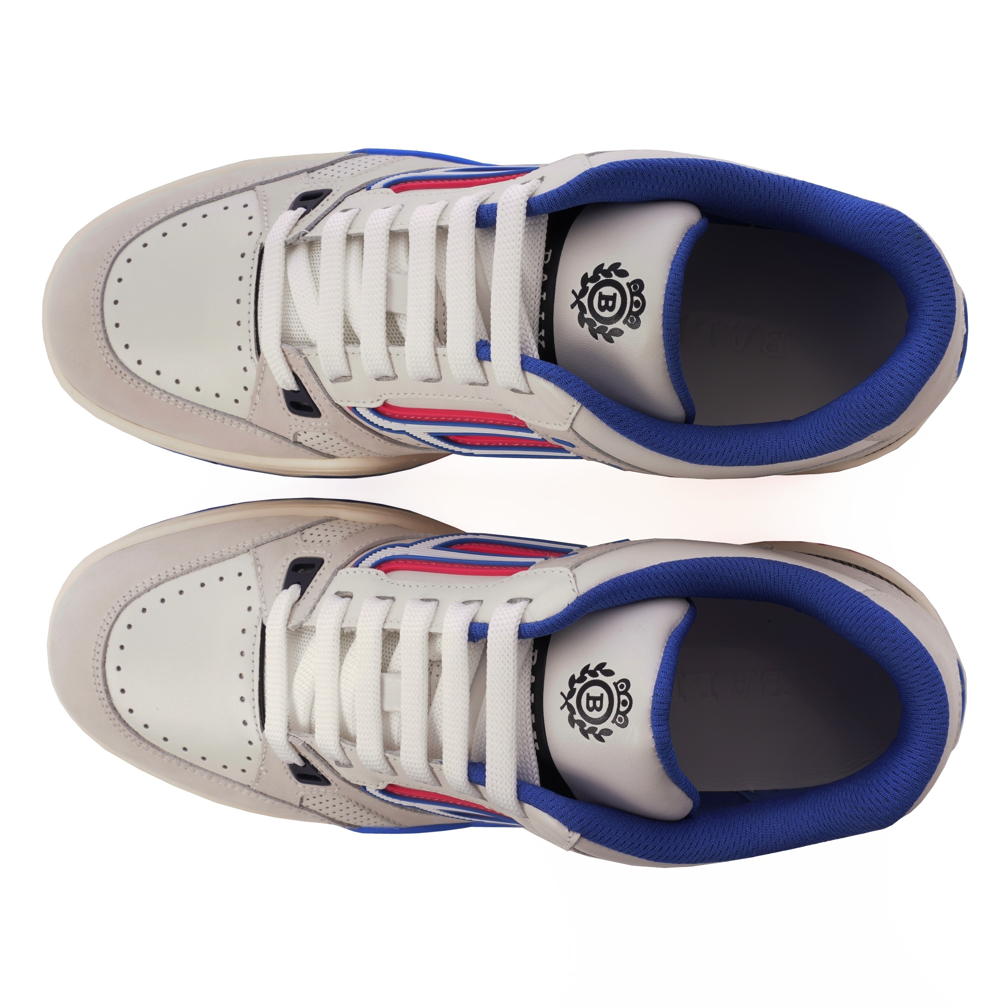 0f204290a74 Bally Champion Calf Leather Sneakers (White   Electric Blue) at ...
