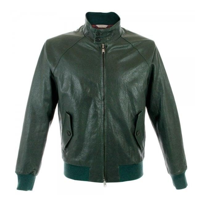 Baracuta G9 Original Harrington Bottle Green Leather Jacket 00876368