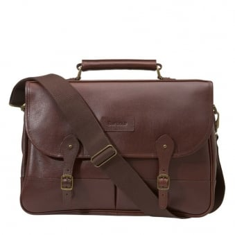 Barbour Leather Dark Brown Briefcase UBA0011BR71