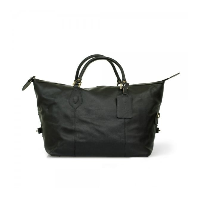 Barbour Accessories Barbour Medium Explorer Black Leather Travel Bag UBA0008BK11