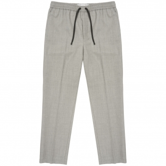 Heather Grey Basket Weave Carrot Fit Trousers