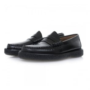 Bass Weejuns Larson Moc Penny Crepe Black Leather Shoes BA1121000