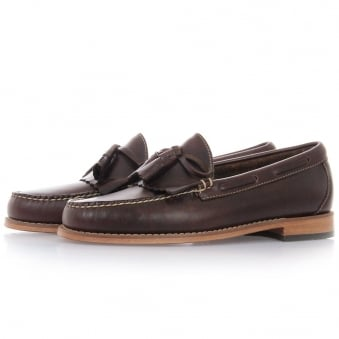 Bass Weejuns Layton Pull Up Dark Brown Leather Loafer Shoe BA11021