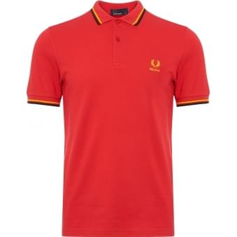 Red Belgium Twin Tipped Polo Shirt