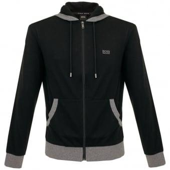 Boss Black Hooded Black Zip Sweatshirt 50302785