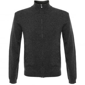 Boss Green C-Cenox 01 Charcoal Lambswool Cardigan 50323631