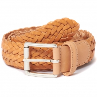 Anderson's Braided Natural Sand  Leather Belt
