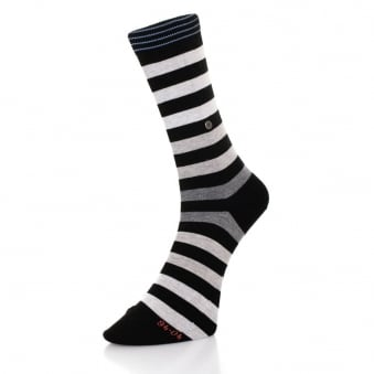 Burlington Blackpool Striped Black Grey Socks 21023 3000