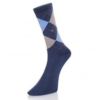 Burlington Manchester Mercerised Blue Grey Socks 20182 6220