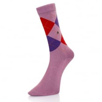Burlington Manchester Mercerised Purple Argyle Socks 20182 6328