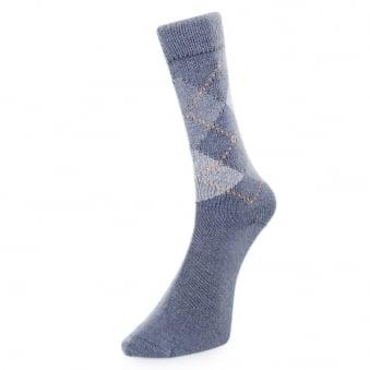 Burlington Preston Argyle blue Socks 24284 6221