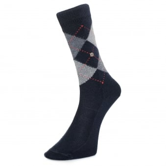 Burlington Preston Argyle Dark Blue Socks 242846125
