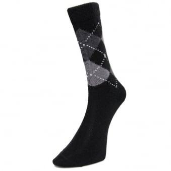 Burlington Preston Black Argyle Socks 242843880