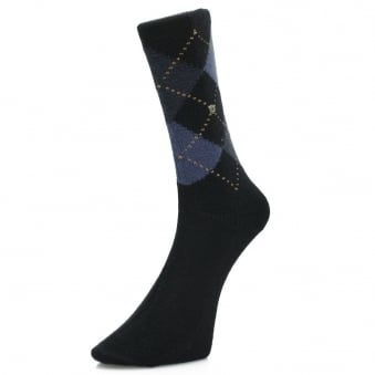 Burlington Preston Dark Blue Argyle Socks 24284 6375