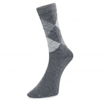 Burlington Preston Grey Argyle Socks 24284 3980