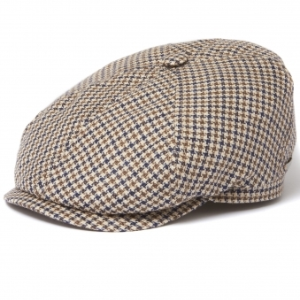 Check 6 panel Flat Cap- Houndstooth