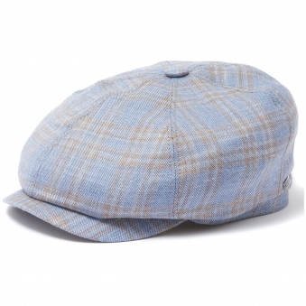 Check 6-Panel Newsboy Cap- Blue