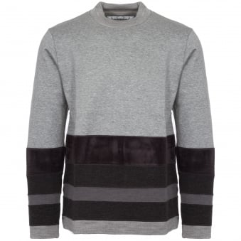 Grey Contrast Border Mock Neck Jumper