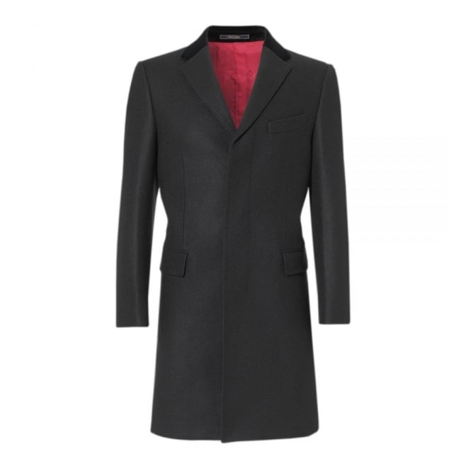 Crombie Black Retro Wool Coat 3254B