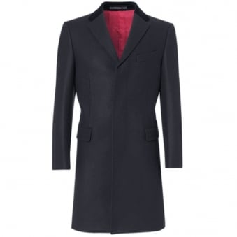 Crombie Navy Retro Wool Coat 3254N
