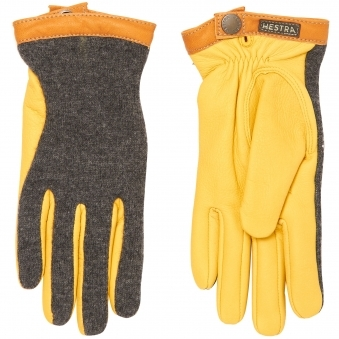 Yellow Deerskin Wool Tricot Gloves