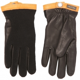 Black Deerskin Wool Tricot Gloves