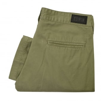Edwin 55 Chino Relaxed Tapered Military Green Chino Trousers