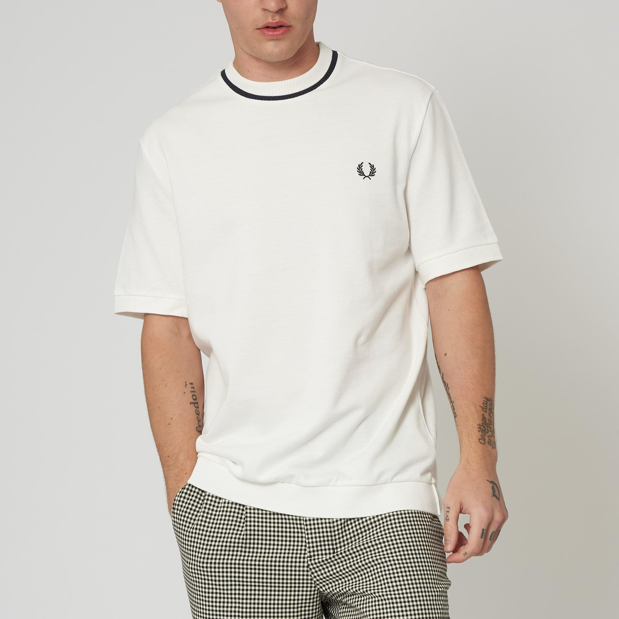 d38b91fe8 Fred Perry Pique Snow White T-Shirt M4127 752