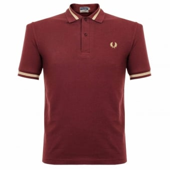 Fred Perry Single Tipped Aubergine Pique Polo Shirt M2 472