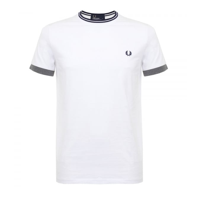 Fred Perry Authentic Fred Perry Tipped Ringer White T-Shirt M9516 100