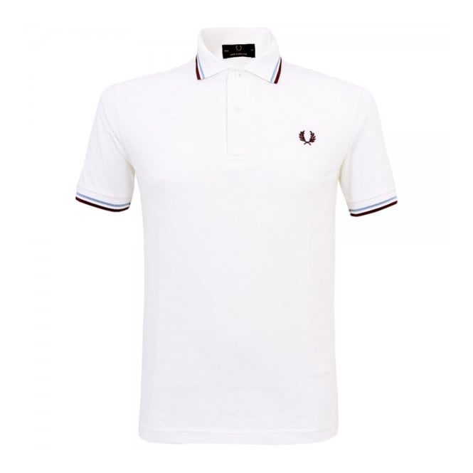 7840404f Fred Perry Polo | Twin Tipped White Polo Shirt M12 120