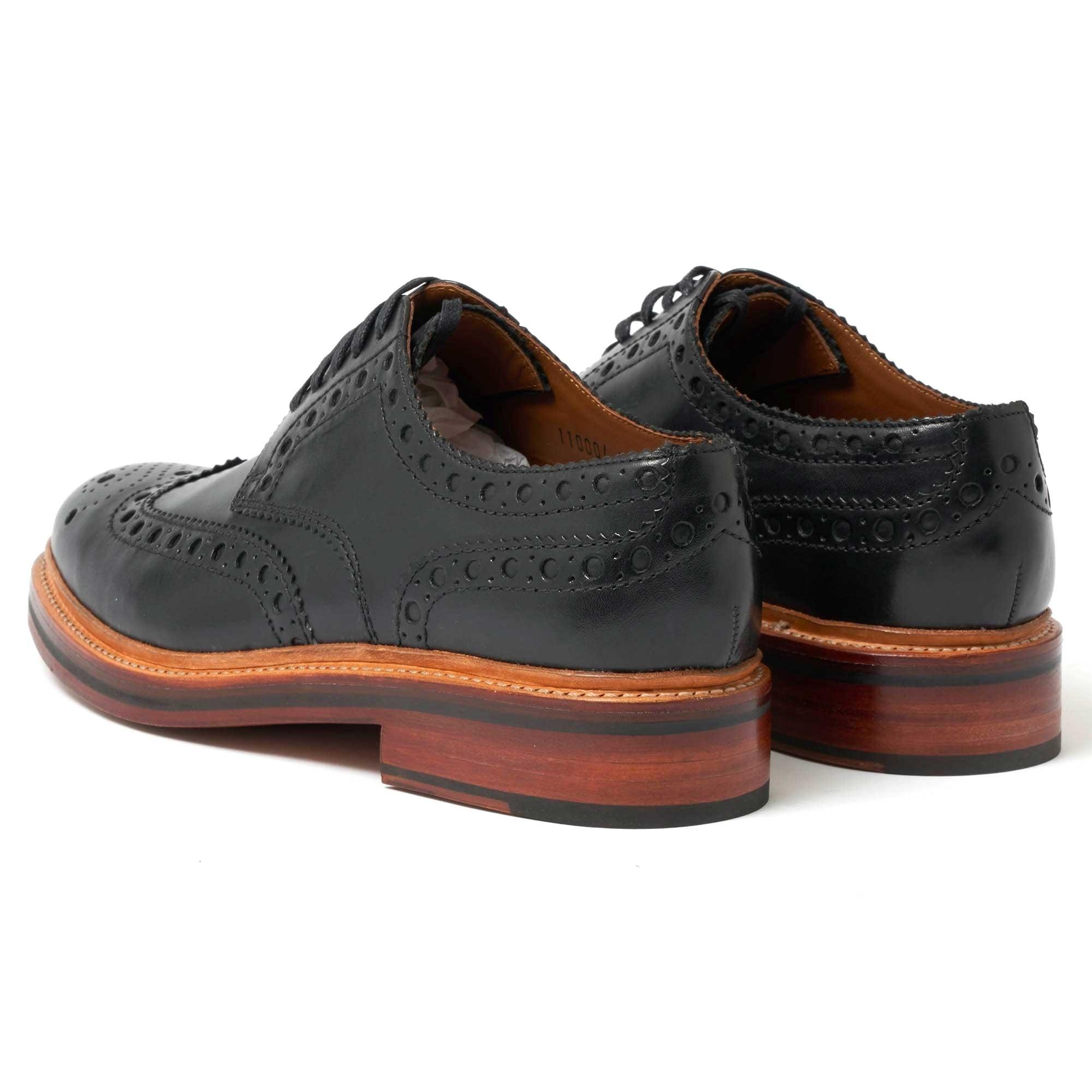 Grenson London   Archie Black Brogue Shoes