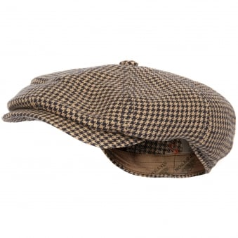 Houndstooth Newsboy Cap- Navy