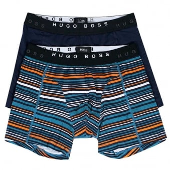 Hugo Boss 2 Pack Cyclist Open Stripe Blue Boxer Shorts 50271735