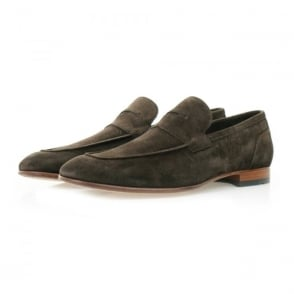 Hugo Boss Artiloseo Dark Brown Suede Loafer Shoes 50310478