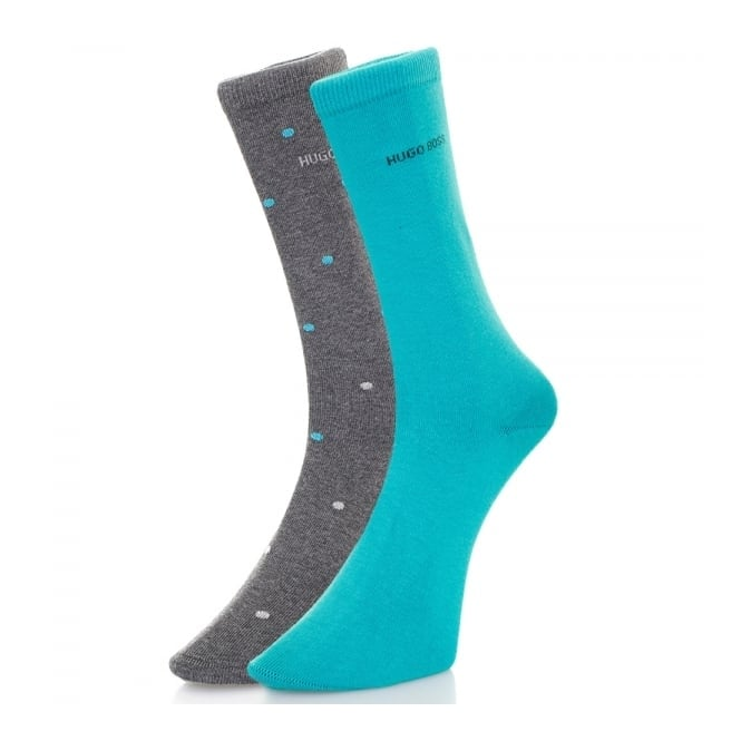 BOSS Hugo Boss Hugo Boss Black Double pack Patterned Grey/Aqua Socks 50312862