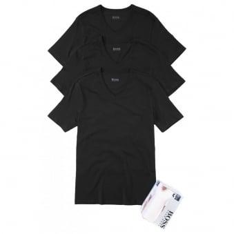 Hugo Boss Classic V-Neck Pack of 3 Black T-shirts 50236739
