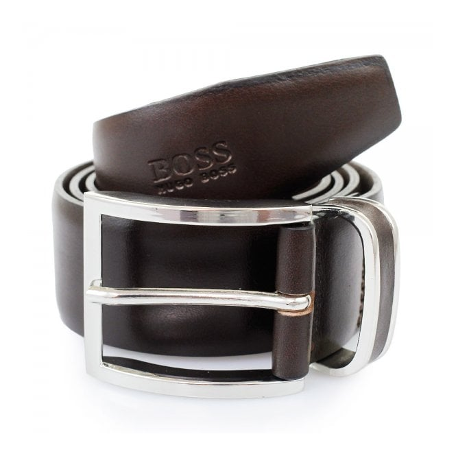 Hugo Boss Black Accessories Hugo Boss Dark Brown Froppin Leather Belt 50151746 202