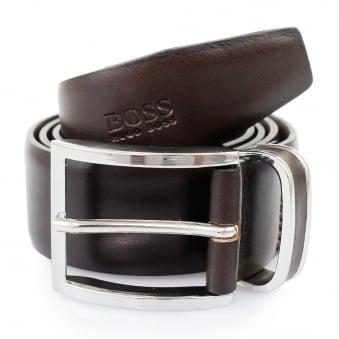 Hugo Boss Dark Brown Froppin Leather Belt 50151746 202