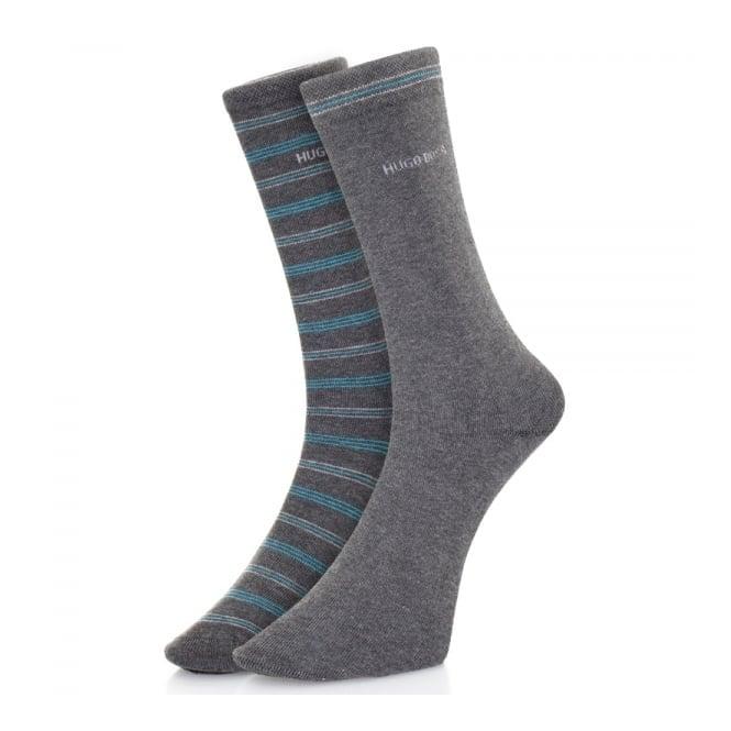 Hugo Boss Black Accessories Hugo Boss Double pack Grey Stripe Socks 50312