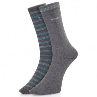 Hugo Boss Double pack Grey Stripe Socks 50312